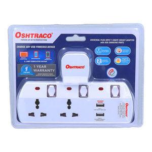 Oshtraco 2Way Switched T Socket With USB OTC-5313SN 1pc