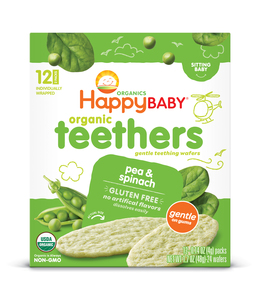 Happy Baby Organic  Pea & Spinach Potato Stage 1 Teething Wafers 48g