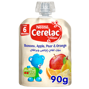 Nestle Cerelac Fruits Puree Pouch Banana Apple Pear Orange From 6 Months 90g