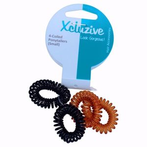 Xcluzive 4 Coiled Ponytailers Small 1pc