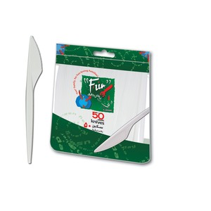 Fun Everyday Disposable Plastic Knife Set White 6.5 Inch 50packs