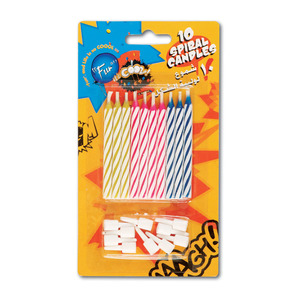 Fun Its Cool Spiral Birthday Candles With Holders 10pcs