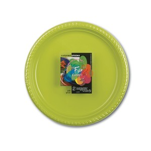 Fun Color Party Plastic Plates Set Large Green 10packs