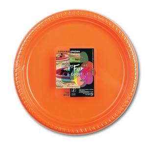 Fun Color Party Plastic Plates Set Large Orange 10packs