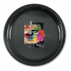 Fun Color Party Plastic Plates Set Large Black 10packs