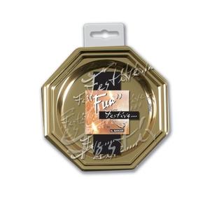 Fun Festive Octagonal Coaster Gold 8.5cm 10packs