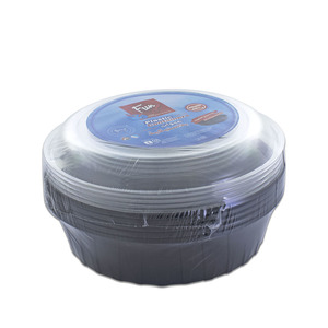 Fun Indispensable Black Round Food Container Set With Lid 48oz 5pcs