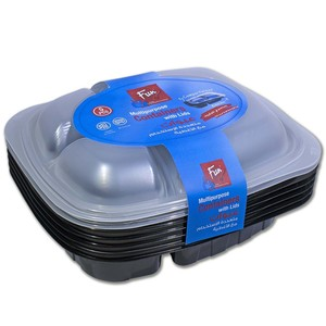 Fun Indispensable Meal Prep 3-Compartment Food Container Set With Lid 5pcs