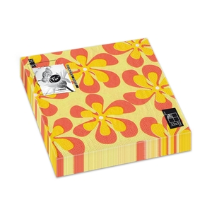 Fun Trendy Floral Napkin Orange 33x33cm 3 Ply 20packs