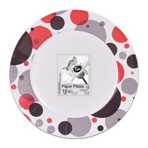 Fun Trendy Fiery Red Paper Plate For Birthday Parties 23cm 10packs