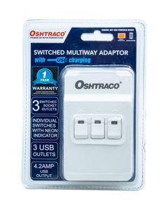 Oshtraco 3Way Switchd Adaptor With USB 1pc