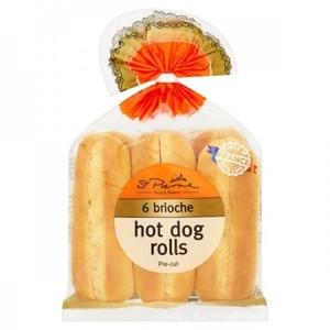 St Pierre Brioche Hot Dog Rolls 6pack