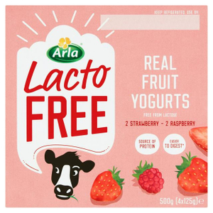 Arla Lactofree Strawberry & Raspberry Yoghurt 4x125g