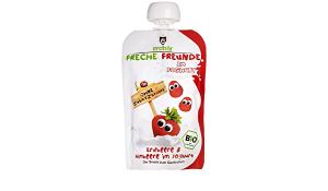Freche Freunde Organic Yoghurt With Strawberry & Raspberry Squeeze Pouch 6x100g