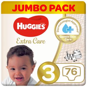 Huggies Extra Care Jumbo Pack Size 3 4-9 kg 76pcs