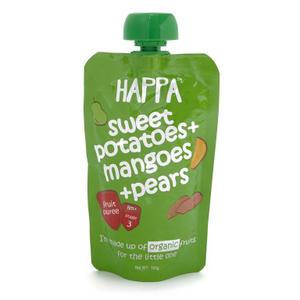 Happa Organic Sweet Potato Mango & Pear Fruit Puree 100g
