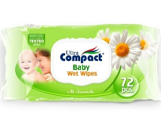 Ultra Compact Baby Wipes Chamomile 2x72s