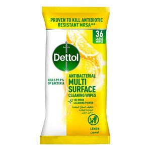 Lemon Antibacterial Multi Surface Cleaning Wipes With Resealable Lid Large Wipes 36wipes