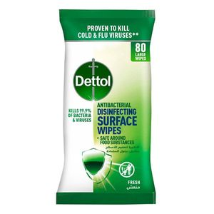 Dettol Fresh Antibacterial Disinfecting Surface Wipes With Resealable Lid Large Wipes 80wipes