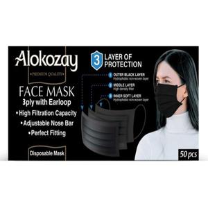 Alokozay Face Mask Black 3Ply 50pcs