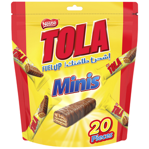Tola Minis Pouch 1Finger Crispy Wafer Covered with Caramel and Milk Chocolate 20x15.5g