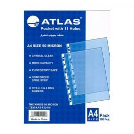 Atlas Glass Clear Punched Pockets A4 20pcs