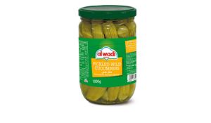 Al Wadi Pickled Wild Cucumbers In Glass Jar 600g