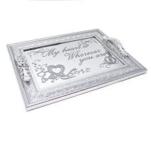 Vague Silver Serving Tray With Handle 1pc