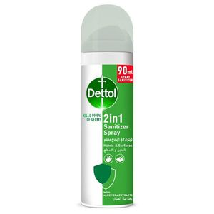 Dettol 2 in 1 Sanitizer Spray for Hands & Surfaces with Aloe Vera Extracts 90ml