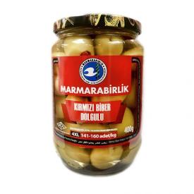 Marmarabirlik Green Olives Stuffed With Pepper 400g