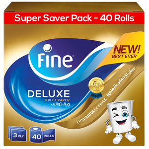 Fine Deluxe Highly Absorbent Sterilized Soft & Strong Flushable Toilet Paper 40rolls