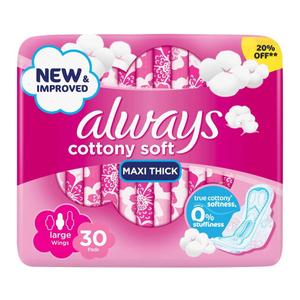 Always Cotton Soft Maxi Thick Napkins 30s