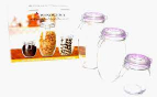 Windcera Glass Jar With Glass Lid 750ml + 1400ml + 2000ml 1pc