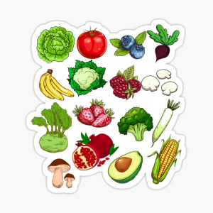 Lucky Fruits/Vegetables Stickers 1pc