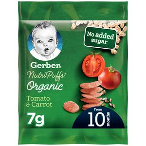 Gerber Organic Nutripuffs Tomato & Carrot Sachet 7g