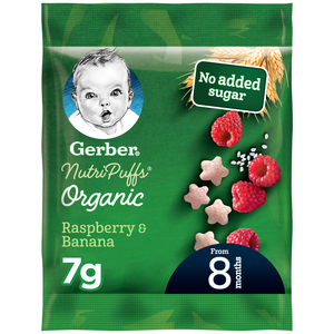 Gerber Organic Nutripuffs  Raspberry & Banana Sachet 7g