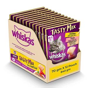 Whiskas Tasty Mix Cat Food Tuna & Crab 4x70g