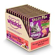 Whiskas Tasty Mix Cat Food Land & Sea 12x70g