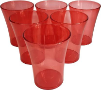 Sunny Crystal (Red) Plastic Glass 25s