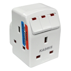 Kadris 13Amp UK Travel Adaptor With Light 1pc