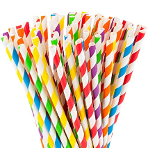 Party Time Straw 8x260 mm Rainbow Colour 1pc