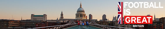 Football is Great Britain, bridge over river Thames with view on St. Pauls