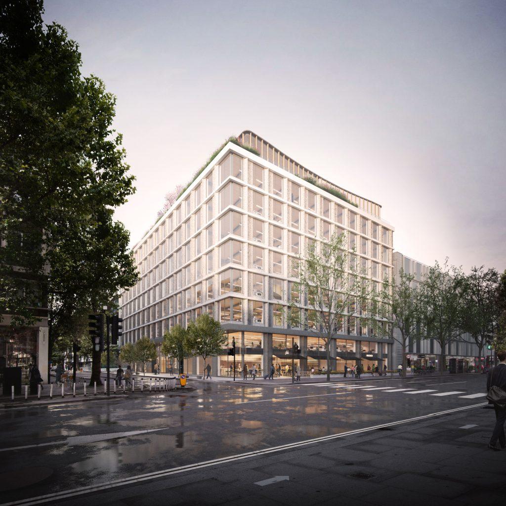 Piercy & Company's Network Building di persimpangan Tottenham Court Road dan Howland Street disetujui Juli 2021