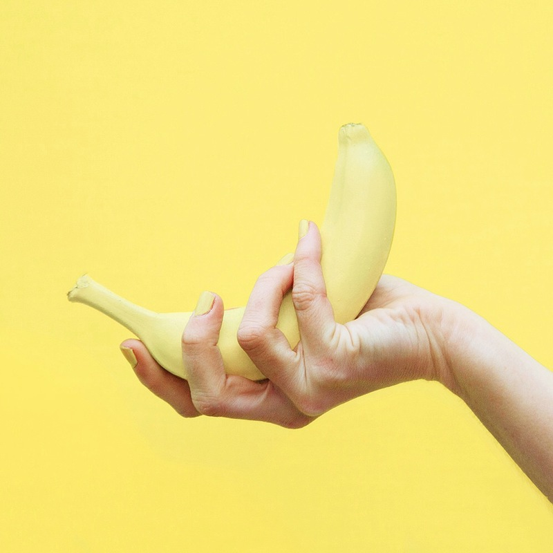 Banana fruit paint hand