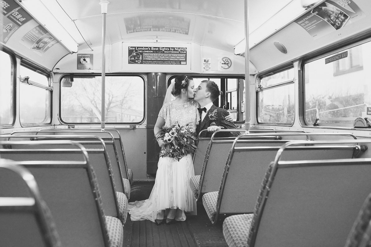 Bride and Groom Wedding Bus Portrait