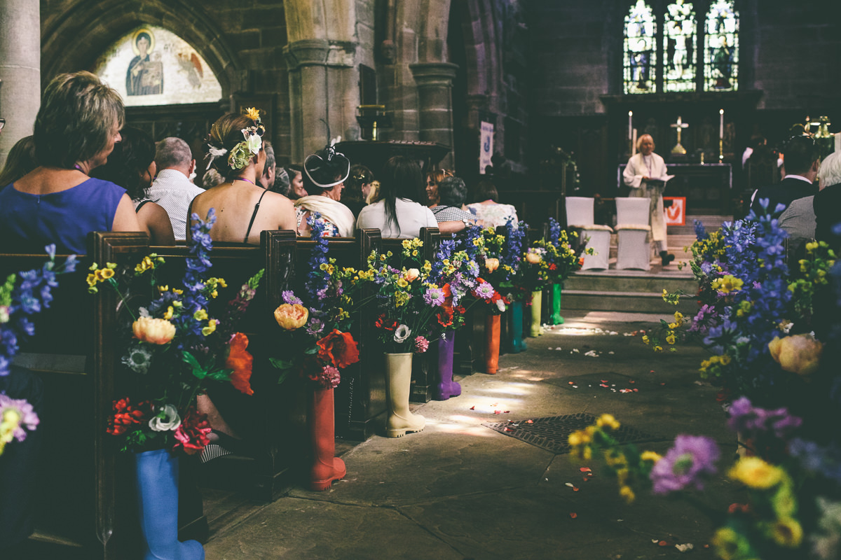 Colourful Church Wedding Decor
