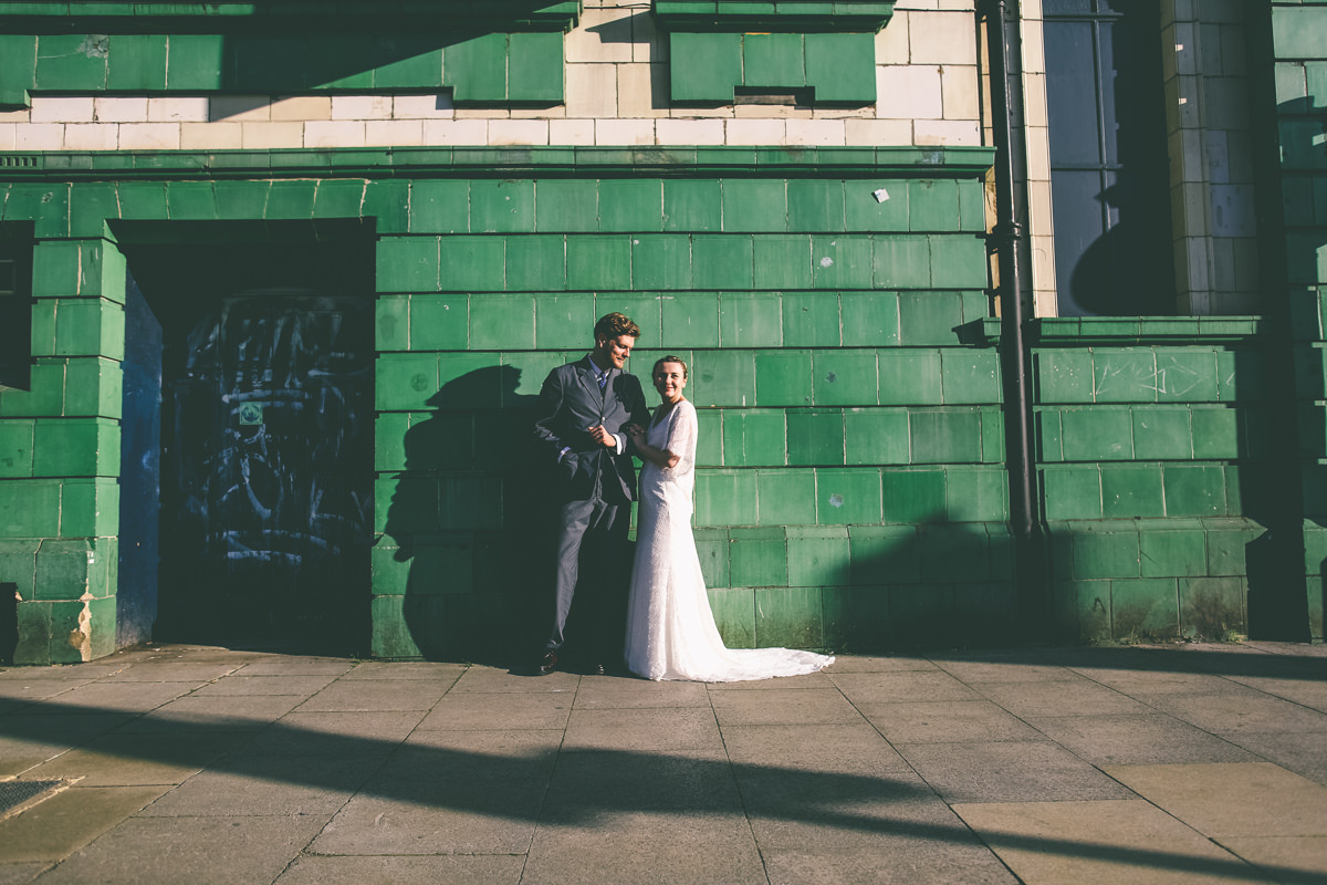 Golden Hour Urban Wedding Portrait