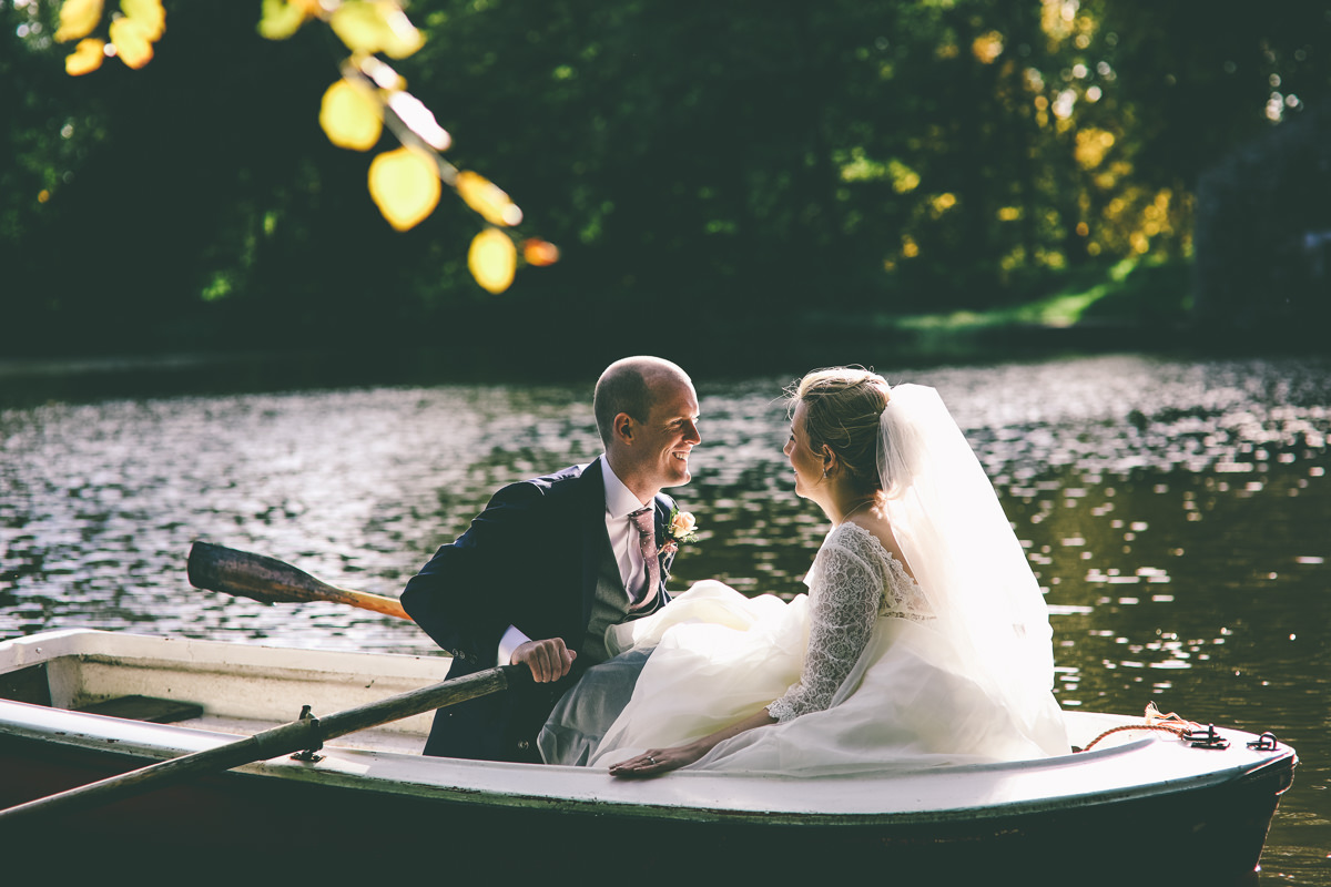 Wedding portraits on a lake