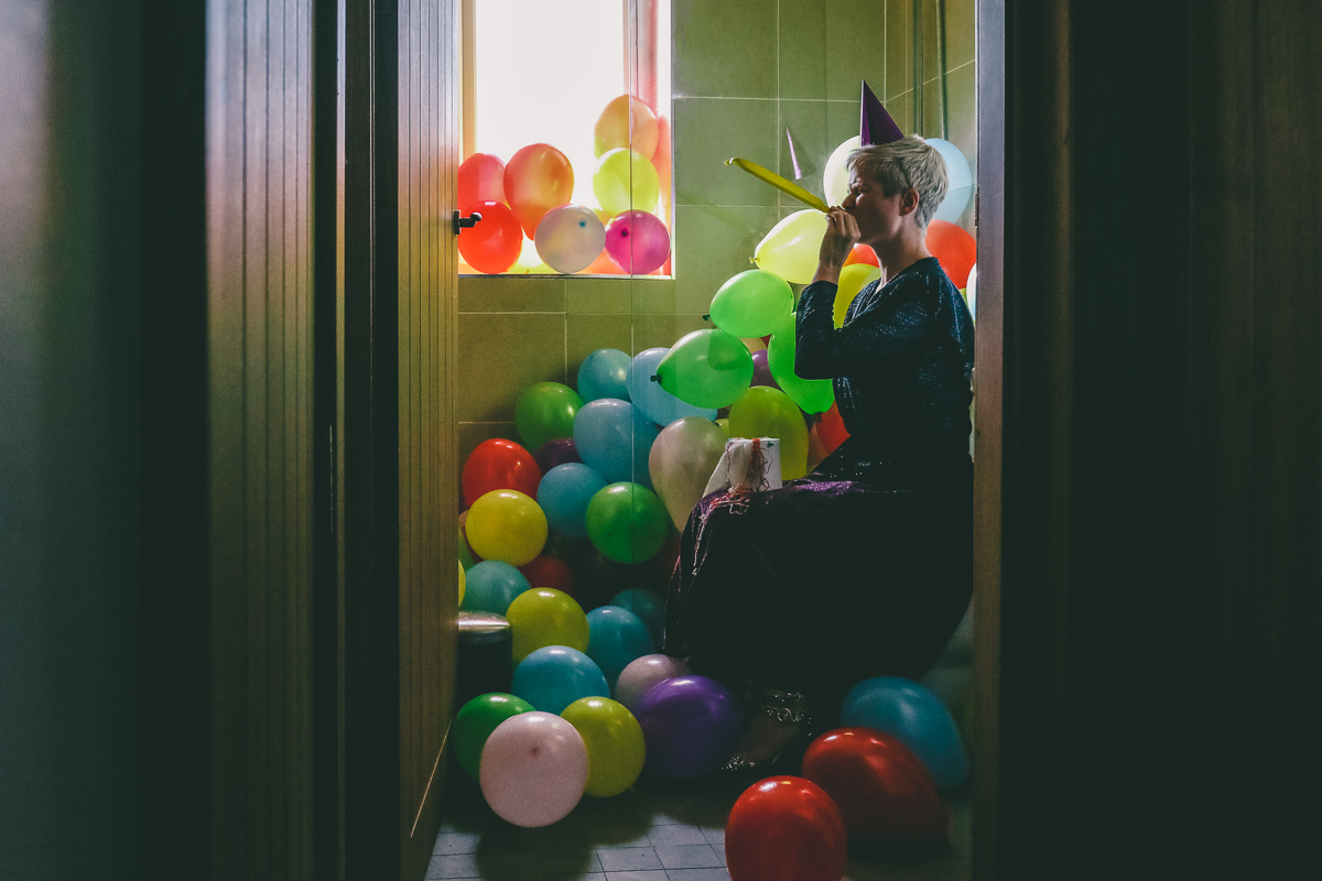 Self Portrait with balloons