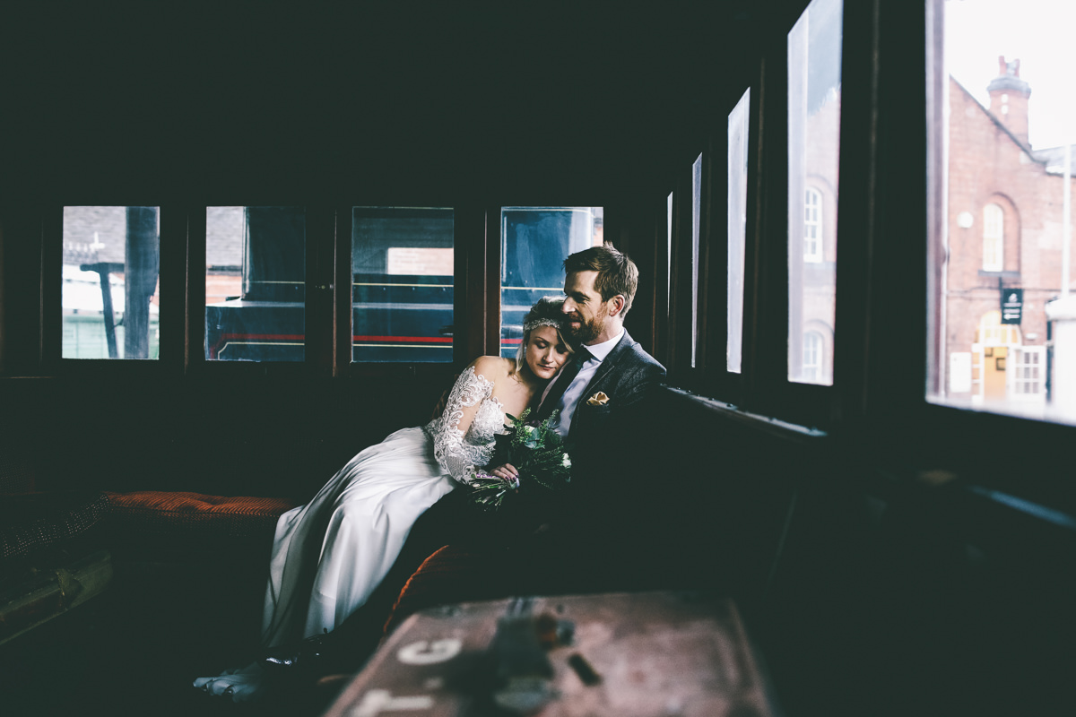 Wedding Portrait on a train